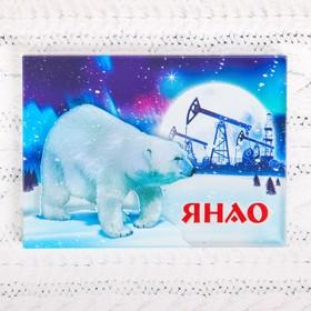 Магнит «ЯНАО. Белый медведь и нефтяные вышки» в Донецке