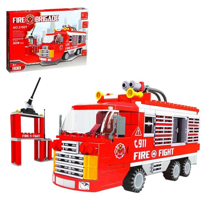 Конструктор Пожарная бригада «Машина», 309 деталей - фото 76299543
