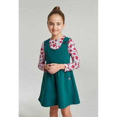 Сарафан для девочки, рост 134-140 см, цвет изумрудный