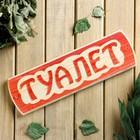 """Табличка для бани """"Туалет"""", массив сосны, 10х30х1,5см"""