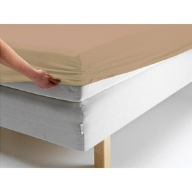 Простыня на резинке, размер 140х200х20 см, цвет бежевый, трикотаж