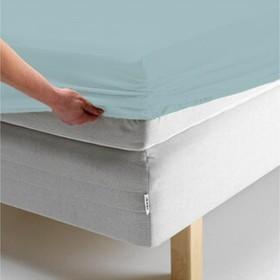 Простыня на резинке, размер 140х200х20 см, цвет голубой, трикотаж