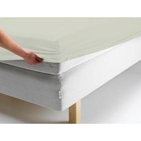 Простыня на резинке, размер 140х200х20 см, цвет молочный, трикотаж
