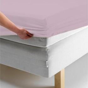 Простыня на резинке, размер 140х200х20 см, цвет розовый, трикотаж