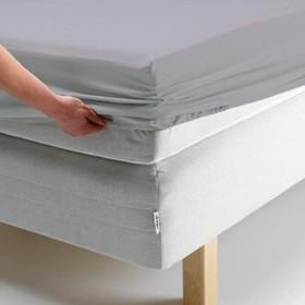 Простыня на резинке, размер 140х200х20 см, цвет серый, трикотаж