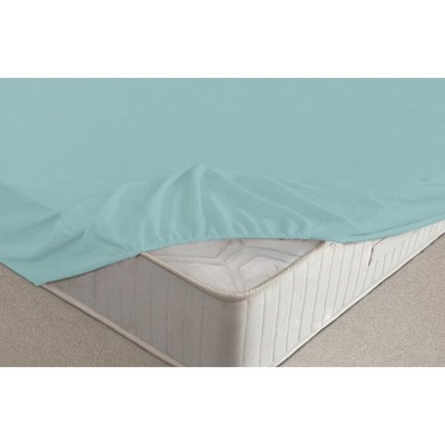 Простыня на резинке, размер 160х200х20 см, цвет голубой, махра 160 г/м2
