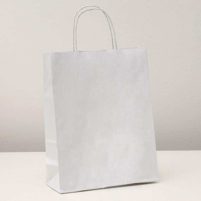 """Пакет крафт """"Радуга"""" белая. 25 х 11 х 32 см. с кручеными ручками - фото 308279606"""