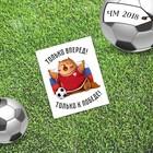 Открытка мини–формата одинарная «Футбол», котик, 9 х 10 см