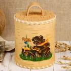 Туес для мёда «Медведь», роспись, 10×10×12/15 см, 0,65 л, береста