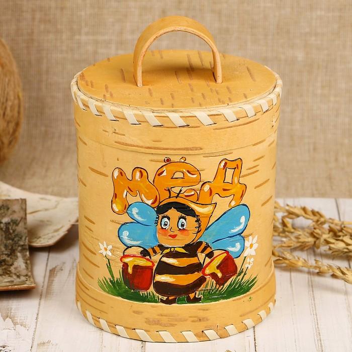 Туес для мёда «Пчёлка», роспись, 10×10×12/15 см, 0,65 л, береста