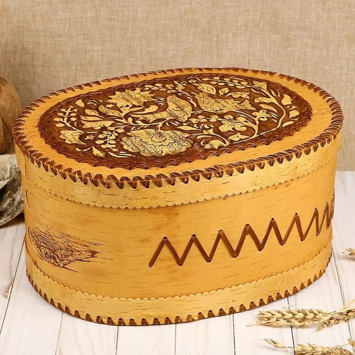 Хлебница «Перезвон», большая. 33х26х16 см, береста