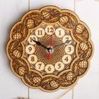 Часы «Шишки», резные, 18×18×3 см, береста
