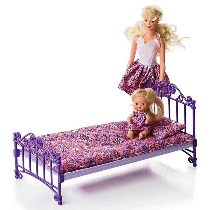 Кроватка, фиолетовая, с постельным бельём, в пакете - фото 797961109