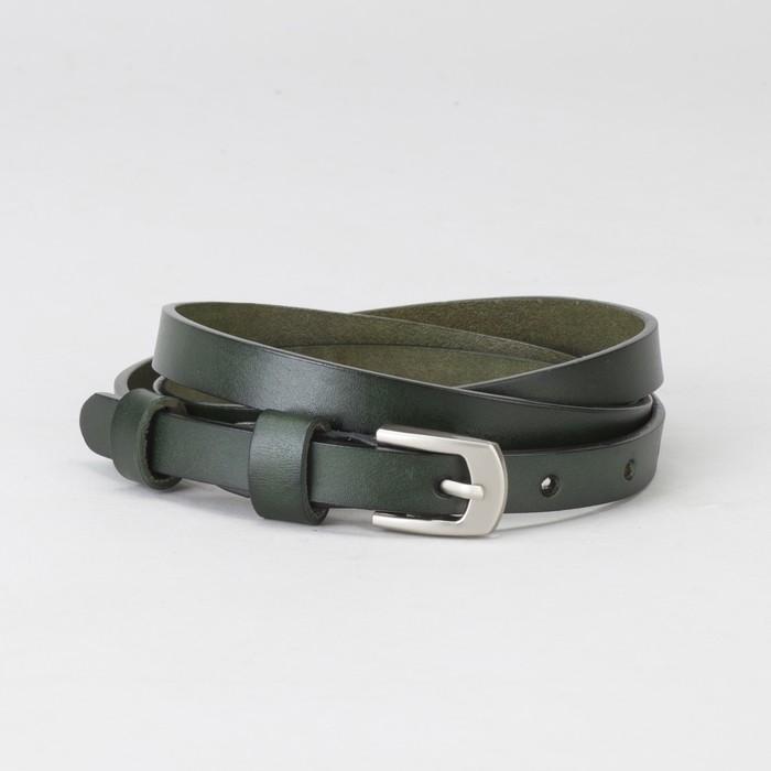 Ремень женский, гладкий, пряжка матовый металл, ширина - 1,5 см, цвет зелёный