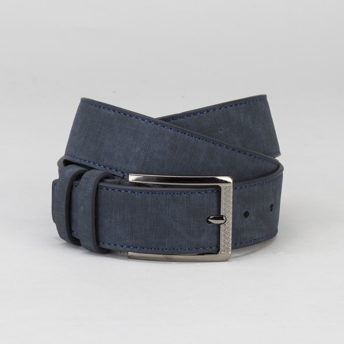 Ремень мужской, под нубук, пряжка металл, ширина - 4 см, цвет синий