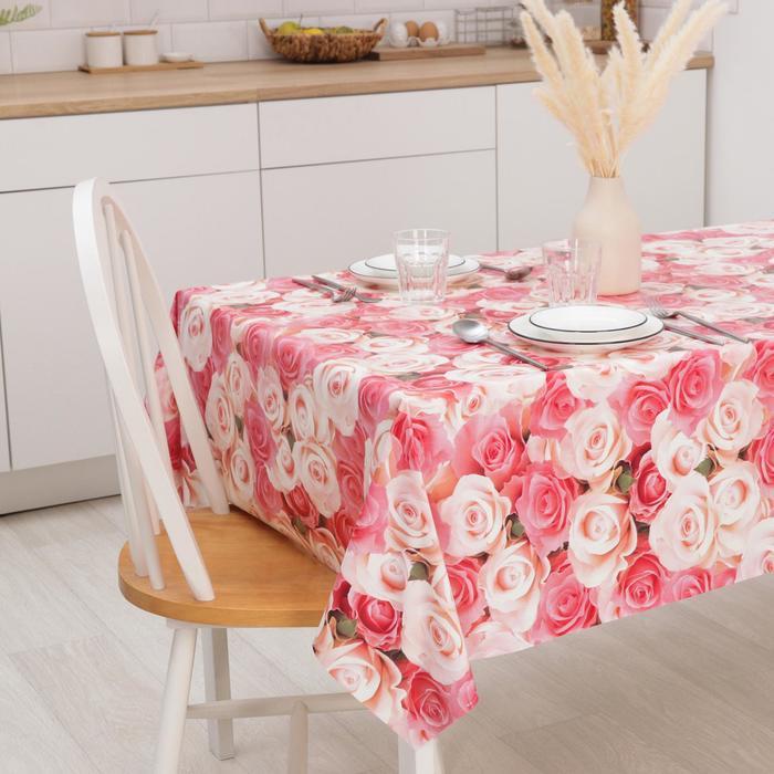 """Клеёнка столовая на нетканой основе """"Розы"""", рулон 20 метров, цвет розовый"""