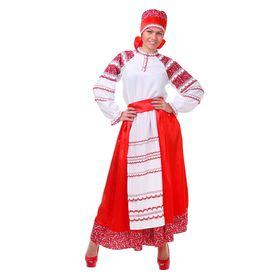 Русский женский костюм, блузка, юбка с фартуком, сорока, цвет красный, р-р 42, рост 172 см