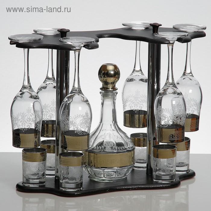 Мини-бар 13 предметов бокалы  + графин  500 мл + стопка 50 мл