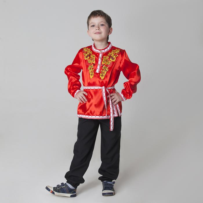 """Карнавальная русская рубаха """"Хохлома: цветы"""", атлас, цвет красный, р-р 32, рост 122-128 см"""