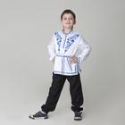 """Карнавальная русская рубаха """"Синие цветы"""", атлас, цвет белый, р-р 36, рост 146 см"""