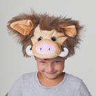 """Карнавальная шапка """"Кабанчик бежевый с чёлкой"""", обхват головы 54-57 см"""