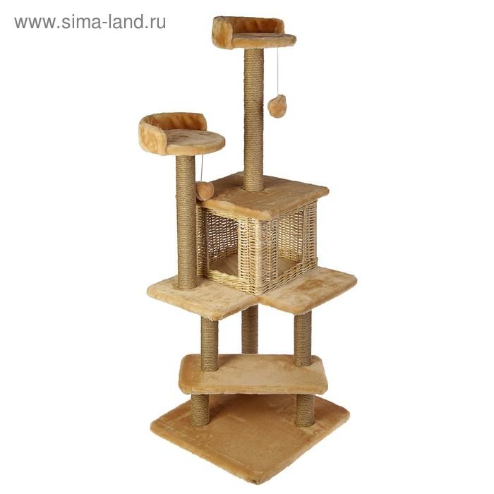 """Комплекс """"Лестница"""" для кошек, лоза/джут, 56 х 52 х 140 см, микс"""