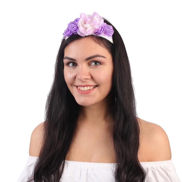 """Повязка на голову """"Букет роз"""", цвет фиолетовый"""
