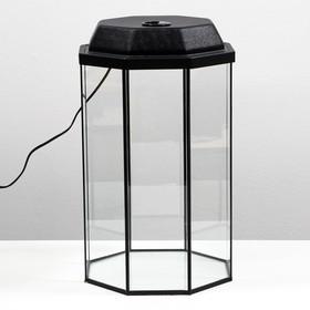 Аквариум восьмигранный с крышкой, 32 литра, 29 х 29 х 45 см, чёрный