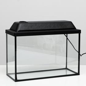 Аквариум прямоугольный Атолл с крышкой, 20 литров, 38 х 19 х 28/33,5 см, чёрный