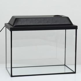 Аквариум прямоугольный Атолл с крышкой, 24 литра, 40 х 21 х 29/34,5 см, чёрный