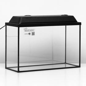 Аквариум прямоугольный Атолл с крышкой, 40 литров, 55 х 21 х 35/40,5 см, чёрный
