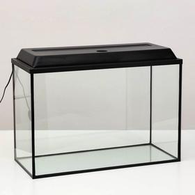 Аквариум прямоугольный Атолл с крышкой, 110 литров, 75,5 х 33 х 45/51 см, чёрный