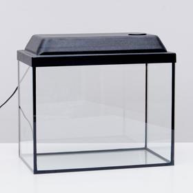 Аквариум прямоугольный с крышкой, 35 литров, 42 х 25 х 33/38,5 см, чёрный