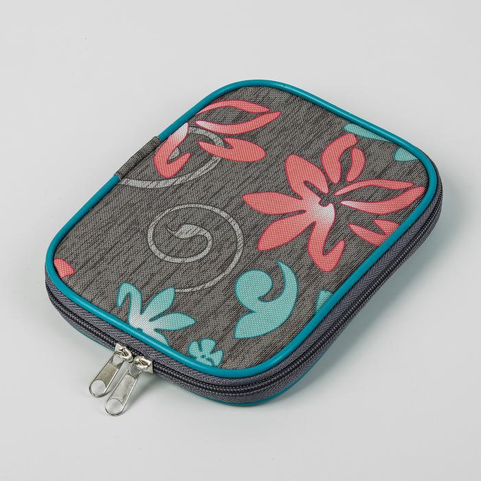 Сумка для вязальных инструментов, вязальных крючков «Цветы», 14 × 20 × 2 см, разноцветный