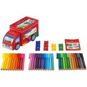 Фломастеры 33 цвета Faber-Castell Connector «Машина» + 10 клипов для соединения, подарочная коробка