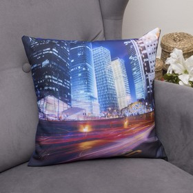 Подушка декоративная Огни большого города, 40х40см, габардин, синтетич. волокно, 160 гр/м, п