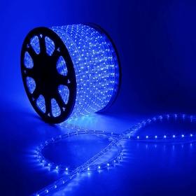 LED шнур 13 мм, круглый, 100 м, фиксинг, 2W-LED/м-36-220V. в компл. набор д/подкл, СИНИЙ Ош