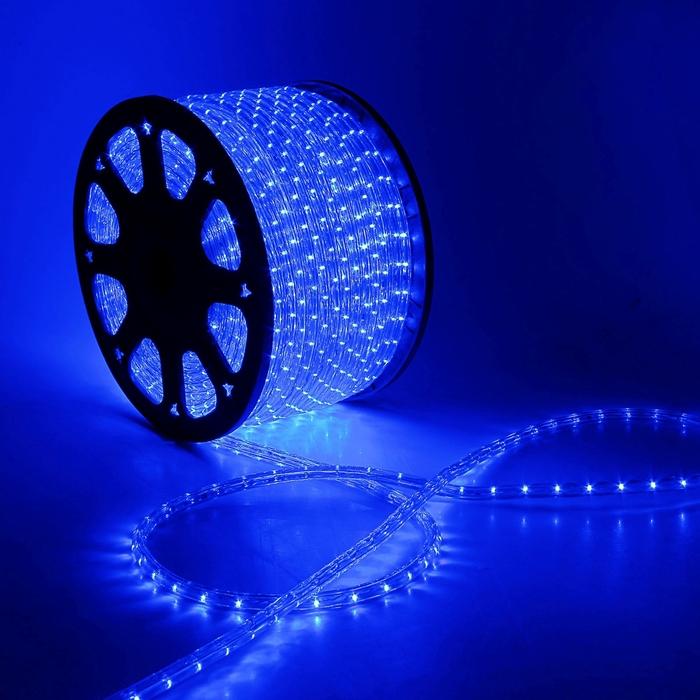 LED шнур 13 мм, круглый, 100 м, фиксинг, 2W-LED/м-36-220V. в компл. набор д/подкл. Синий