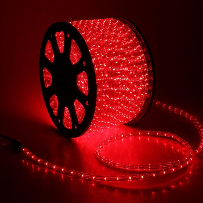 LED шнур 13 мм, круглый, 100 м, фиксинг, 2W-LED/м-36-220V. в компл. набор д/подкл. Красный