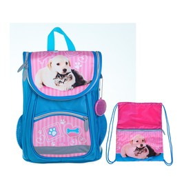 """Satchel school bag for shoes """"Kitten with a dog"""", 36 x 26 x 16 cm"""