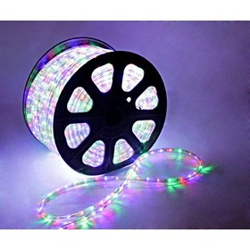 LED шнур 13 мм, круглый, 100 м, чейзинг, 3W-LED/м-36-220V. в компл. набор д/подкл. Мульти