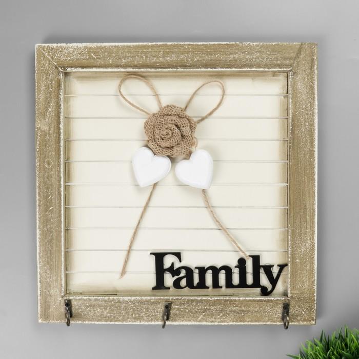Крючки декоративные дерево Family с розой и сердечками 25,3х25,3х3,5 см - фото 308329877