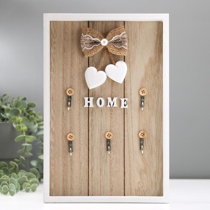 """Крючки декоративные дерево """"Home. Два сердца"""" 30х20х3 см"""