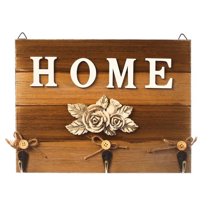"""Крючки декоративные дерево """"Home. Винтажные розы"""" 18х23х1,5 см"""