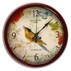 Часы настенные классика сюжет, Птица, толстая коричневая рама, d=33,5см
