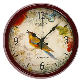 "Wall clock, series: Animal world, ""Canary"", a brown frame, d=33.5 cm"