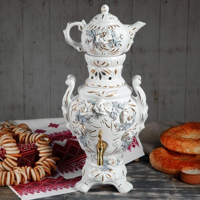 "Самовар электрический с заварником ""Царский"", в наборе: самовар 4 л и чайник 0,5 л, белая роза - фото 244915226"