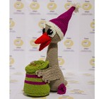 "Knitting toys ""Christmas goose Martin with a bag of coins"" 23х7 cm"