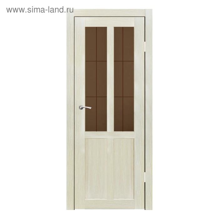 Дверное полотно остекленное Рона Капучино бронза сатин пескоструй клетка 2000х600