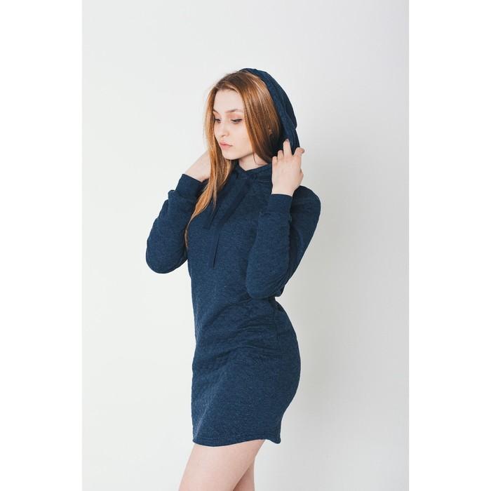 Платье женское KAFTAN с капюшоном, р-р 44-46, индиго, 60% хл., 40% п/э